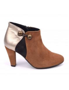 Low boots daim cognac, petite pointure 33 34 35, Valerie, Bella B, vue profil