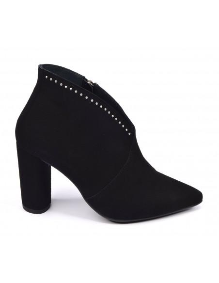 Low Boots, daim noir, 3324, Dansi, femme petite pointure, Vue de profil