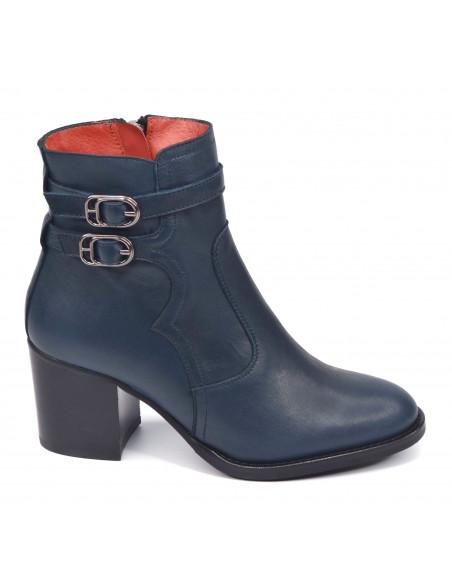 Bottines cuir lisse bleu irisé, 3164, Dansi_, femme petite pointure vue profil