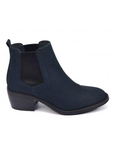 Boots, daim bleu marine 3141, Dansi, femme petite ^pointure, Vue profil