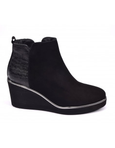 Bottines talons compensés noires, petits pieds femme, 33,34,35, Softwaves, vue prodil