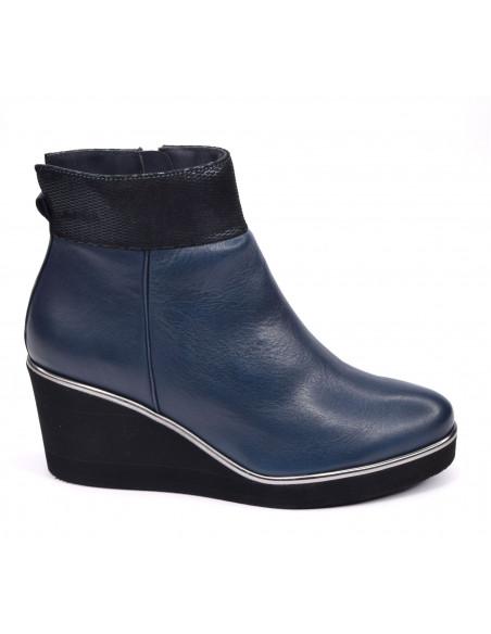 Bottines talon compensé, cuir lisse bleu marine, petite pointure 33 34 35, Softwaves, vue profil