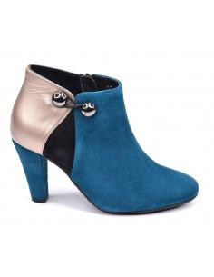Low boots daim bleu pétrole, petite pointure 33 34 35, Valerie, Bella B, vue diagonale