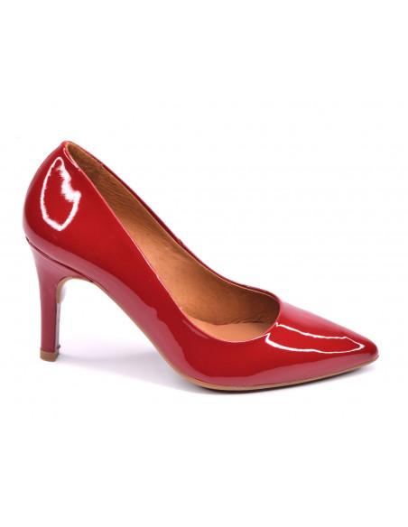 Escarpins cuir verni rouge, talon aiguille, femme petite pointure, 8433, Dansi, Vue profil
