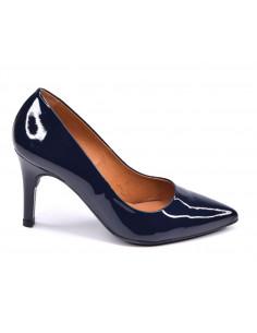 Escarpins cuir verni bleu marine, talon aiguille, femme petite pointure, 8433, Dansi, Vue profil