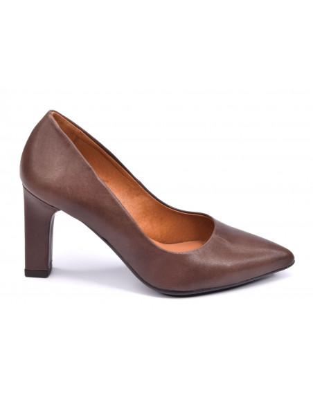 Escarpins cuir mat marron foncé, femme petite pointure 32 33 34 35, 2041, Dansi, Vue profil