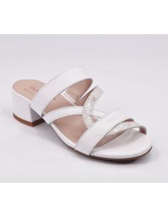 Mules cuir lisse blanc, Finnair, petits pieds femme, Bella B