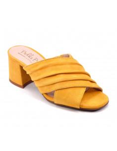 Mules cuir suédine jaune femme petites pointures