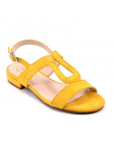 Sandales plates, cuir suédine jaune, femme petite pointure