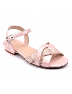 Sandales plates, rose nacré, femme petites pointures 33 34