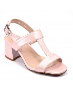 Sandales rose nacré, chaussure femme petits pieds