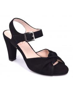 Sandales talons, daim noir, Varain, chaussure petite taille femme