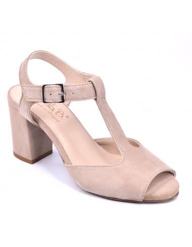 Sandales talon carré, beige, femme petite taille