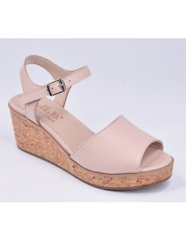 Sandales compensées cuir lisse nude, femme petite pointure 33 34