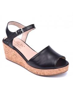 Sandales compensées cuir lisse noir, femme petite pointure, Mura, Bella B