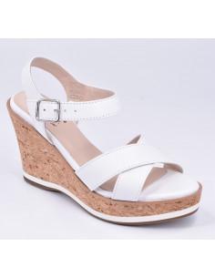 Sandales compensées blanches, High Hob, Bella B, petits pieds chaussure