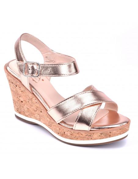 Sandales compensées or saumon, femme petite pointure, chaussure