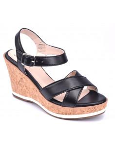 Sandales compensées noires, High Hob, Bella B, chaussures
