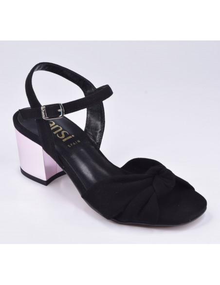 Sandales daim noir, 8376, dansi, femme petite pointure 32 33 34