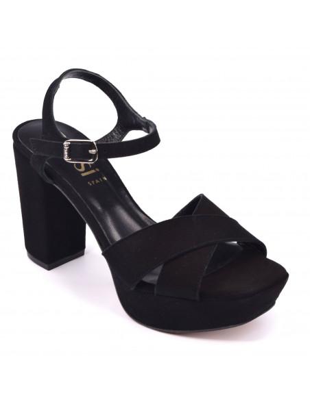 Sandales Plateforme, cuir suédine noir, 2647, Dansi, femme petite pointure