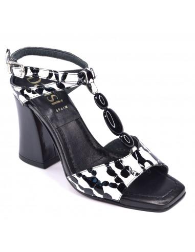 Sandales Talon bobine épais, verni noir et blanc, 3785, Dansi, femme petite pointure