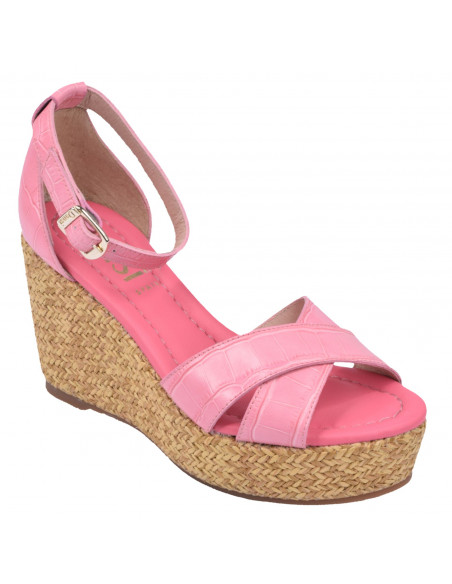 Sandales compensées cuir croco rose, 3722, dansi, femme petite pointure