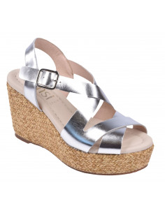 Sandales compensées, cuir argent, 3721, Dansi, Femme petite pointure
