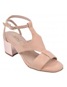 Sandales cuir suédine nude, 8377, Dansi, femme petite taille