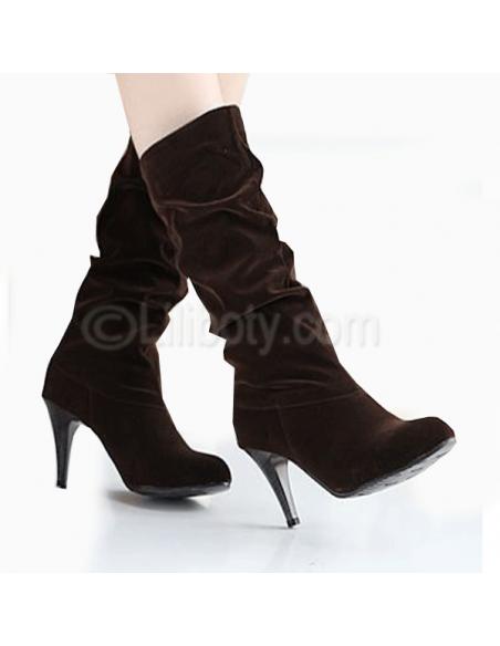 Botas de tacón de amaranto marrón para mujer en talla pequeña