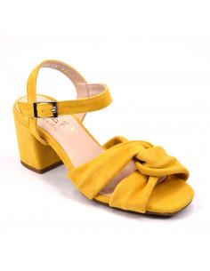 Sandales cuir suédine, jaune, Accor, Bella B, femme petite pointure 33 34