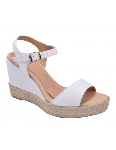 Sandales compensées, cuir lisse blanc, Agnes-P, Toni Pons, femme petite pointure 33 34