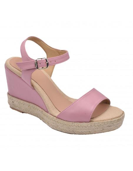 Sandales compensées, cuir lisse rose, Agnes-P, femme petite pointure, Toni Pons