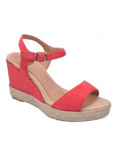 Sandales compensées cuir suédine, corail, Agnes-A, Toni Pons, femme petite pointure 33 34