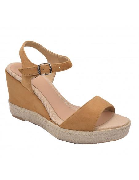 Sandales compensées, cuir suédine camel, Agnes-A, Toni Pons, femme petite pointure 33 34