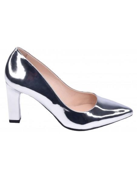Escarpins, cuir miroir argent, femme petite pointure, chaussures mariée, 2041, Dansi. Vue profil