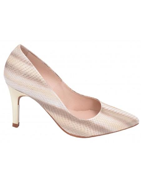 Escarpins cuir écaille beige, mariage, femme petites pointures, 8433, Dansi. Vue profil