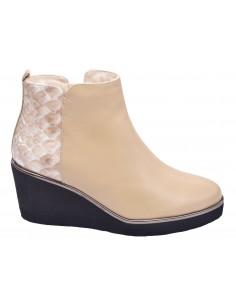 chaussure, bottines compensées, femme petites pointures, nude, vue profil