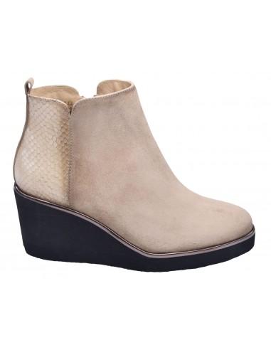 chaussure, bottines compensées, femme petites pointures, camel, vue profil