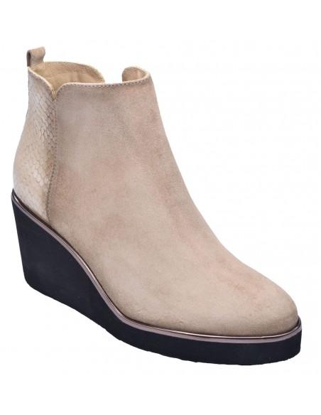 chaussure, bottines compensées, femme petites pointures, camel, vue diagonale