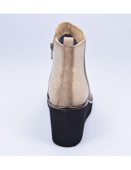 chaussure, bottines compensées, femme petites pointures, camel, vue talon arrière