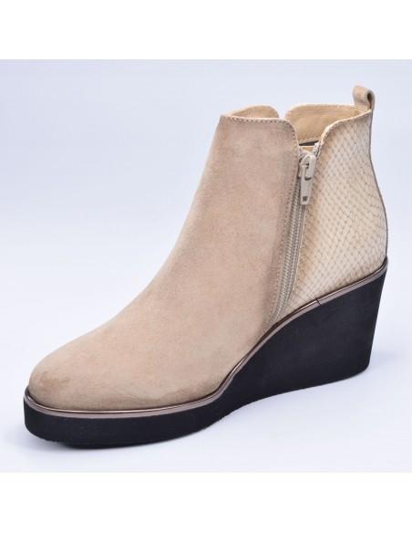 chaussure, bottines compensées, femme petites pointures, camel, vue diagonale côté intérieur