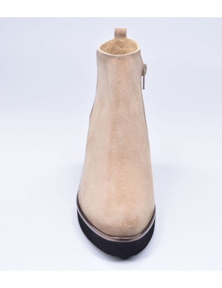 chaussure, bottines compensées, femme petites pointures, camel, vue avant