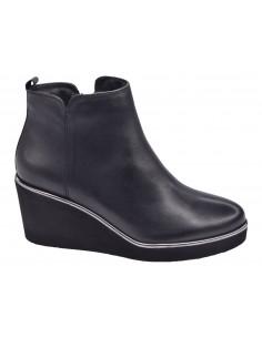 chaussure, bottines compensées, femme petites pointures, noir, vue profil
