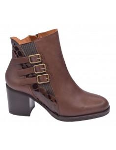 chaussure, bottines, femme petites pointures, marron, vue profil