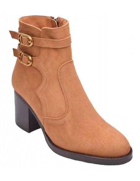 chaussure, bottines, femme petites pointures, cognac, vue diagonale