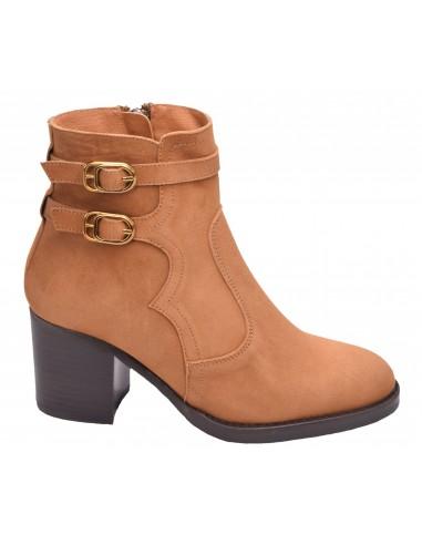 chaussure, bottines, femme petites pointures, cognac, vue profil