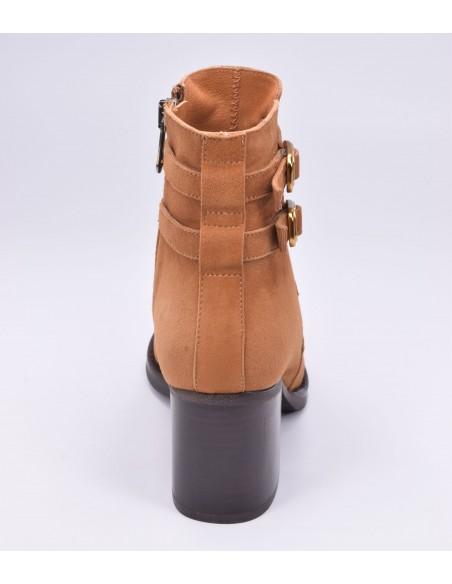 chaussure, bottines, femme petites pointures, cognac, vue talon arrière
