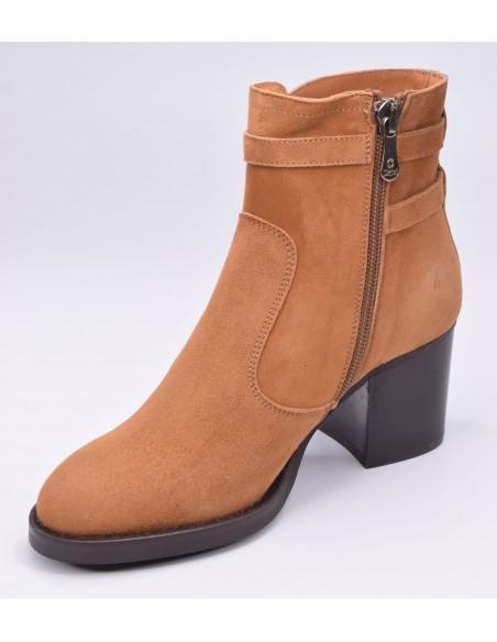 chaussure, bottines, femme petites pointures, cognac, vue diagonale côté intérieur