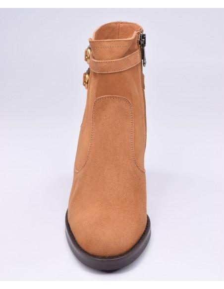 chaussure, bottines, femme petites pointures, cognac, vue avant