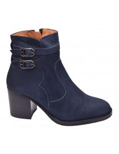 chaussure, bottines, femme petites pointures, bleu marine, vue profil